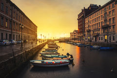 Trieste, Italy. Grand Canal in the evening. Royalty Free Stock Image