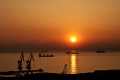 Trieste, Italy - old harbor at sunset Stock Photo