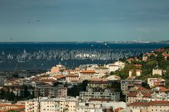 Trieste, Italy. Over 2000 of sails boat in the Adriatic sea during the Barcolana regatta 2017. The Biggest sail boat regata in the. World Stock Image