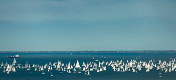Trieste, Italy. Over 2000 of sails boat in the Adriatic sea during the Barcolana regatta 2017. The Biggest sail boat regata in the. World Royalty Free Stock Image