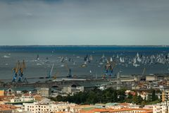 Trieste, Italy. Over 2000 of sails boat in the Adriatic sea during the Barcolana regatta 2017. The Biggest sail boat regata in the. World Royalty Free Stock Photos
