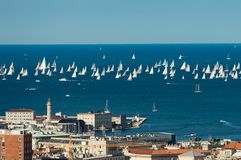 Trieste, Italy. Over 2000 of sails boat in the Adriatic sea during the Barcolana regatta 2017. The Biggest sail boat regata in the. World Stock Photography