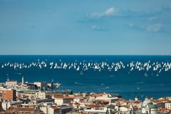 Trieste, Italy. Over 2000 of sails boat in the Adriatic sea during the Barcolana regatta 2017. The Biggest sail boat regata in the. World Royalty Free Stock Photo