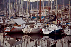 Trieste,Italy - panoramic view of sailboats anchored in harbor a Royalty Free Stock Photo