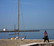 Trieste, Italy - Promenade on Le Rive, Trieste waterfront Stock Photography