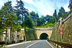 Trieste, Italy - strada Costiera and Miramar castle park Royalty Free Stock Photography