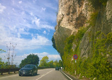 Trieste, Italy - Strada Costiera, natural rock wall Stock Photo