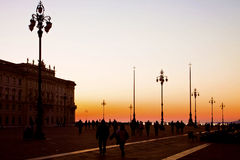 Trieste, Italy - Suggestive view of Unity of Italy Square at su Stock Photography