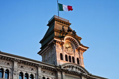 Trieste, Italy -Unity of Italy Square, detail of City Hall  tow Stock Photos