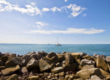 Trieste, Italy - view of rocky strand of S. Croce, naturistic pa Stock Photography