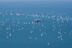 Trieste l'Italia 8 ottobre 2017 - punto di vista della corsa di Barcolana Fotografia Stock