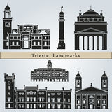 Trieste landmarks and monuments. On blue background in editable vector file Royalty Free Stock Images