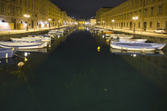 Trieste by night. Night view of part of the port of Trieste Royalty Free Stock Photography