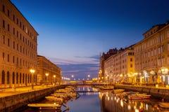 Trieste, o canal grande Foto de Stock Royalty Free