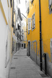 Trieste - Old City Street in Yellow Royalty Free Stock Photos