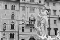 Trieste - piazza Borsa Fontana Nettuno Fotografie Stock Libere da Diritti