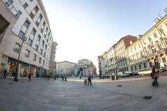 Trieste piazza della Borsa in fisheye Stock Images