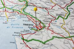 Trieste on map stock photo Image of location place 96098444