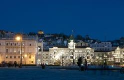 Trieste por noche fotografía de archivo libre de regalías