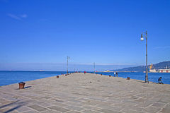 Trieste,promenade on molo Audace Royalty Free Stock Photography