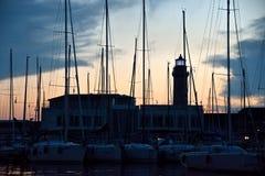Trieste seascape Marina San Giusto i Lanterna latarnia morska Zdjęcie Stock