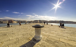 Trieste vinden steg på pir Resor vykort Royaltyfri Foto