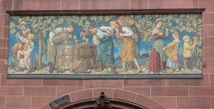 TRIESTE WŁOCHY, Lipiec, - 22: Mozaika święty Michael na fasadzie Serbski Ortodoksalny kościół w Trieste na Lipu 22 Obrazy Royalty Free