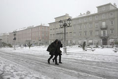 Trieste, walking in the snow and Bora wind Royalty Free Stock Photos