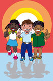 Trietnia. Representation of tri-ethnic culture in Latin America with a cartoon of three representatives of their races: one boy white, one girl black and one boy Stock Image