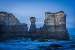 Trifecta. Three of the sandstone monuments rising out of the plains of Kansas Stock Photo
