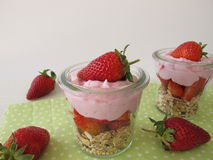 Trifle with muesli, yogurt cream and strawberries Stock Photography