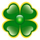 Trifoglio verde con quattro fogli Fotografie Stock