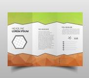 Trifold брошюры, квадратные шаблоны дизайна Молекулярная конструкция с дизайном polgonal, научной картиной на абстрактное полигон иллюстрация штока