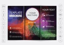 Trifold насмешка брошюры вверх по дизайну вектора Полигональная предпосылка Стоковые Фотографии RF
