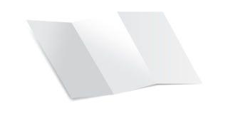 Trifold пустой кусок бумаги с иллюстрацией вектора модель-макета теней Глумитесь вверх бумаги письма изолированной на белой предп Стоковые Изображения