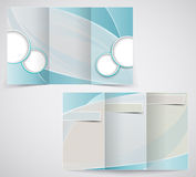 Trifold шаблон брошюры дела, vector голубой d Стоковые Фотографии RF