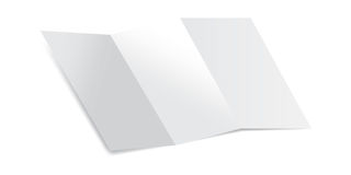 Trifold Blank Piece of Paper with shadows Mockup Vector Illustration. Mock up of a letter paper isolated on a white background. Mockup Vector Illustration Stock Images