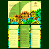 Trifold brochure with floral elements Royalty Free Stock Photo