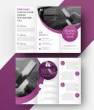 Trifold broschyr för mallvektor med ett ställe för fotoet, semici Arkivfoton