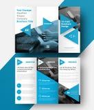 Trifold broschyr för vektor med ett ställe för foto, diagonal elem Royaltyfria Bilder
