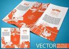 Trifold broschyr, handteckning Royaltyfri Fotografi