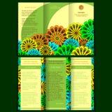 Trifold broschyr med blom- beståndsdelar vektor illustrationer