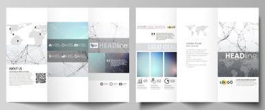Trifold broschyraffärsmallar på båda sidor Abstrakt vektororientering i plan design Sammansättninglinjer och prickar bifokal vektor illustrationer