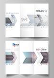Trifold broschyraffärsmallar på båda sidor Abstrakt vektororientering i plan design Sammansättninglinjer och prickar bifokal stock illustrationer