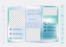 Trifold broszurka egzamin próbny w górę wektorowego projekta Gładki unfocused bokeh tło Zdjęcia Stock