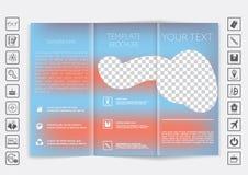 Trifold broszurka egzamin próbny w górę wektorowego projekta Gładki unfocused bokeh tło Zdjęcia Royalty Free