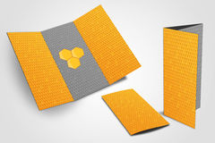 Trifold flyer with honeycomb texture Stock Photos