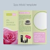 Trifold&Spa Brochure&Mock para arriba fotografía de archivo libre de regalías