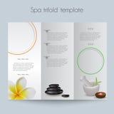 Trifold&Spa Brochure&Mock upp Royaltyfria Bilder