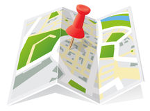 Trifold Town Map with Push Pin. Street map of a fictional generic town on a Trifold map with push pin Stock Photo